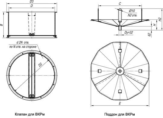 Габаритные и присоединительные размеры вентиляторов крышных ВКР