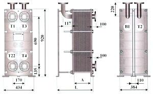Двухходовой теплообменник для ГВС (двухступенчатая смешанная схема) - ТОР-15