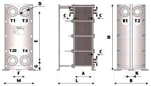 TOP-40, ТОР-41 двухходовой теплообменник для ГВС (двухступенчатая смешанная схема)
