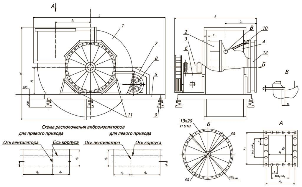 Вентилятор ВЦ 4-70 исполнение (схема) 5
