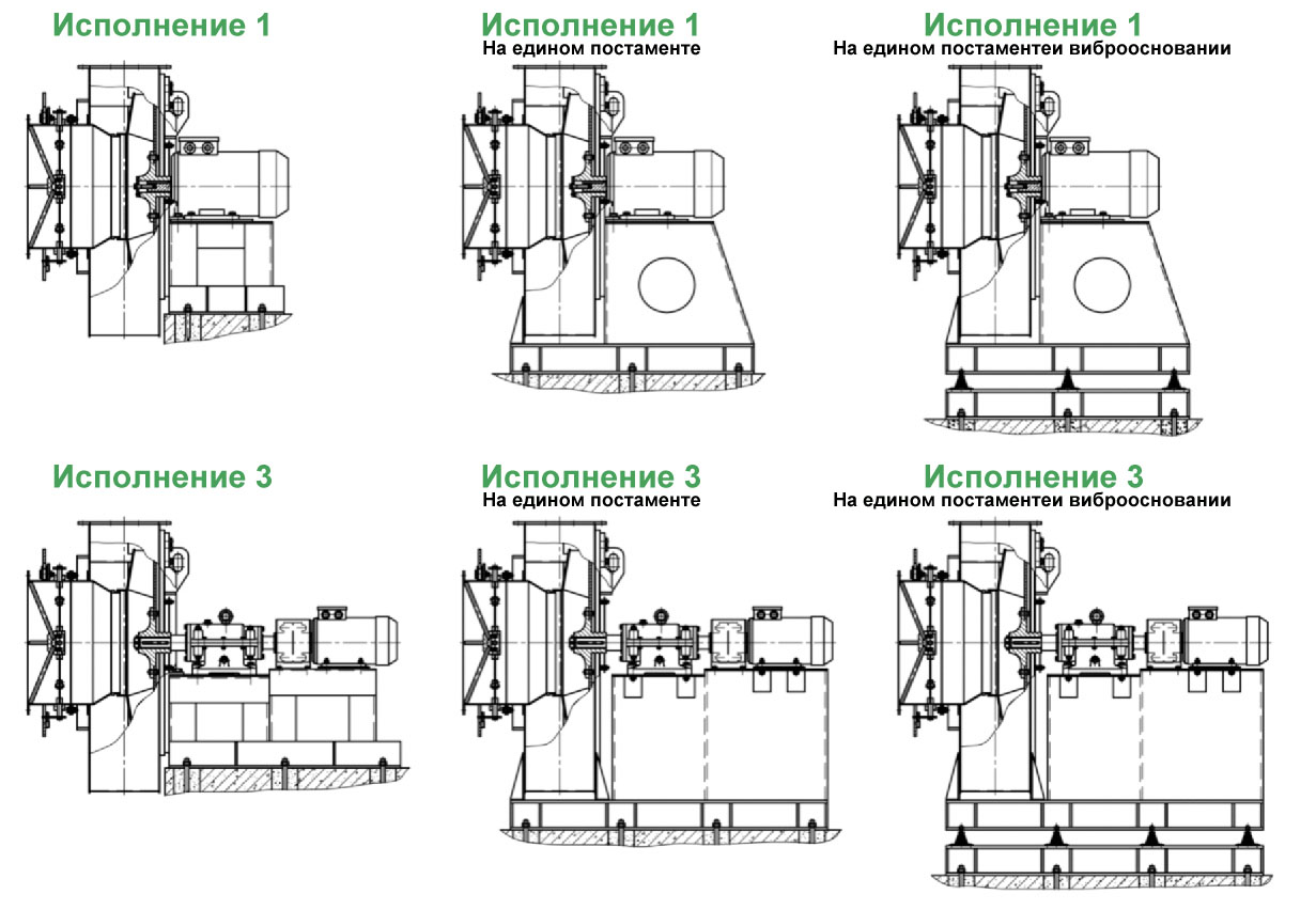 Дымососы и тягодутьевые машины варианты конструктивного исполнения 1 и 3 типоразмеров №2,5-13