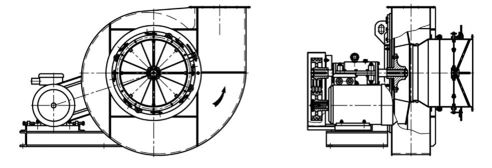 Дымососы и тягодутьевые машины варианты конструктивного исполнения 5 типоразмеров №6,3,-12,5 на едином постаменте и виброосновании