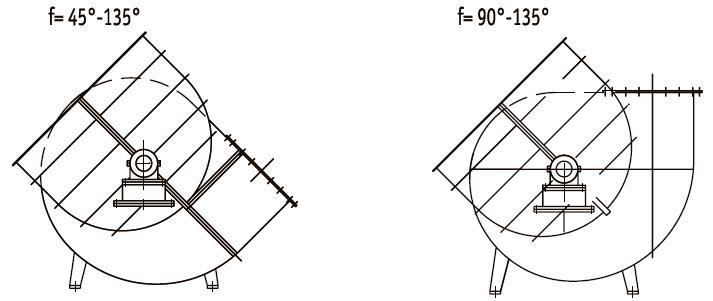 Положение корпуса дымосов Дх2 левого вращения