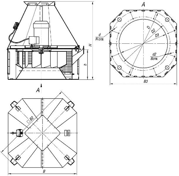 Размеры вентиляторов дымоудаления ВКРС-ДУ