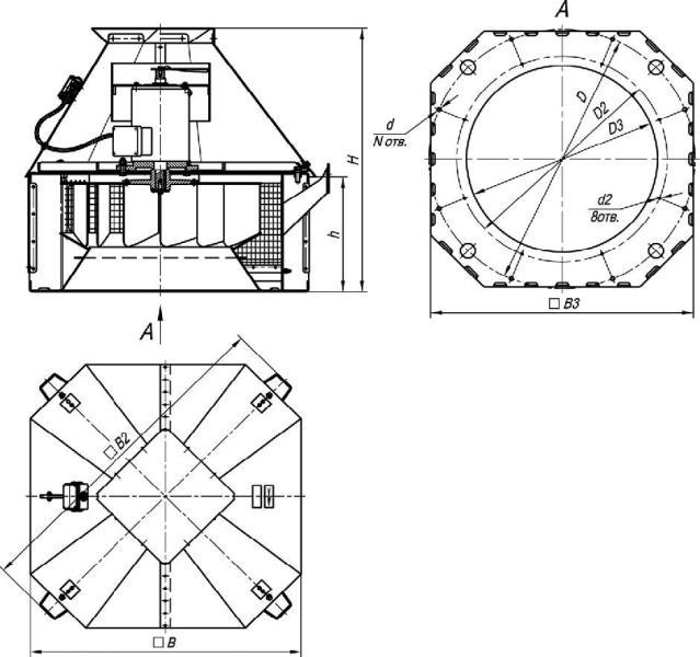 Размеры крышных вентиляторов дымоудаления ВКР-ДУ