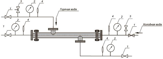 Схема подогревателя водоводяного ВВП (кожухотрубный теплообменник)