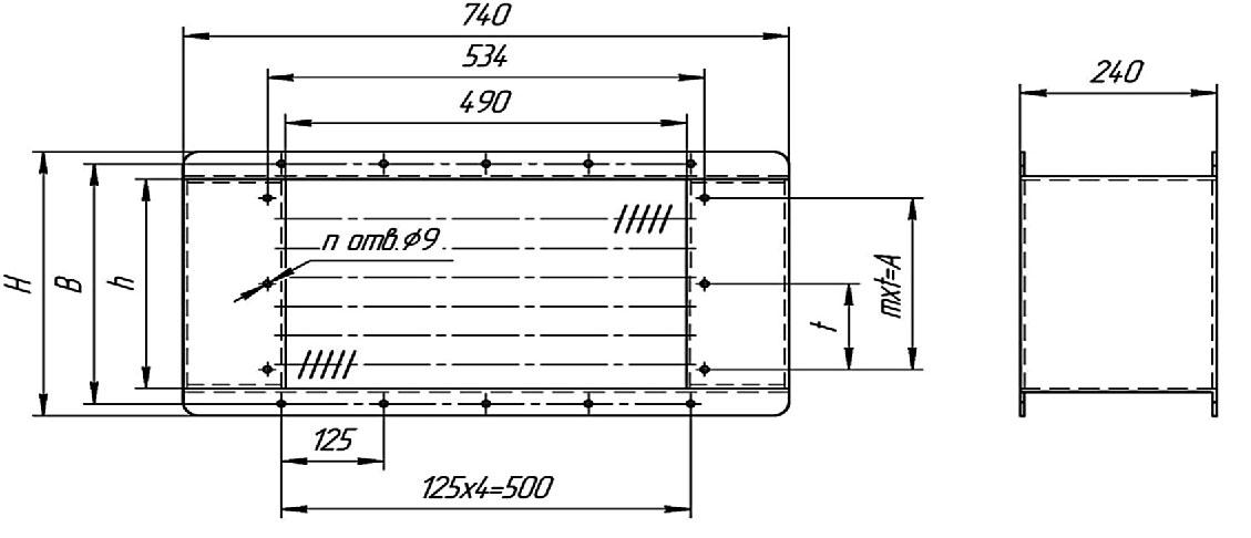 Воздухонагреватель электрический ВНЭ-45-02 габаритные и присоединительные размеры
