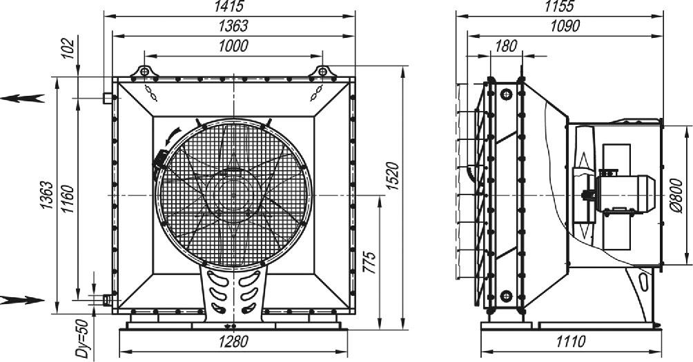 Габаритные и присоединительные размеры агрегата отопительного СТД-300