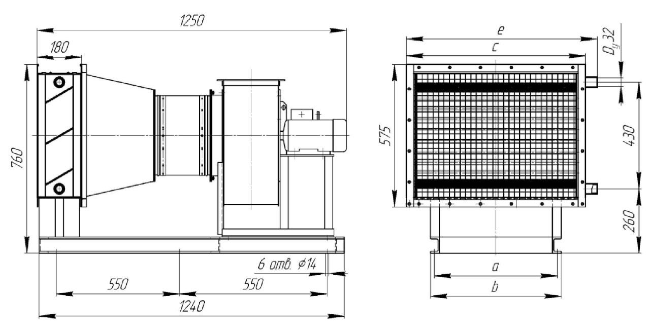 Габаритные и присоединительные размеры воздухонагревательной установки ВНУ-40-01