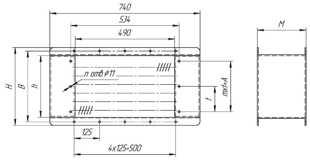 Электрокалорифер ЭКО-5 габаритные и присоединительные размеры