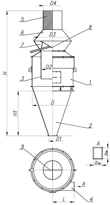 Габаритные и присоединительные размеры циклона ОЭКДМ К-16