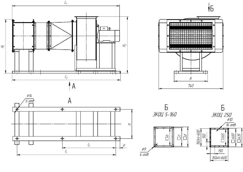 Габаритные и присоединительные размеры электрокалориферной установки ЭКОЦ