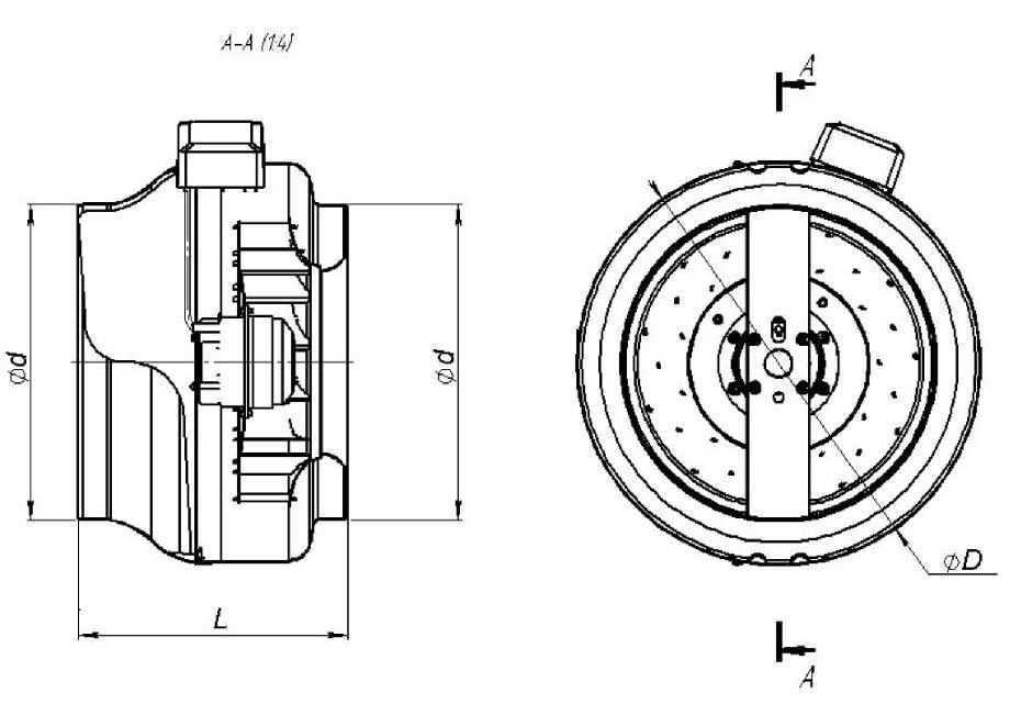 Круглый канальный вентилятор КВКр-355 габаритные размеры