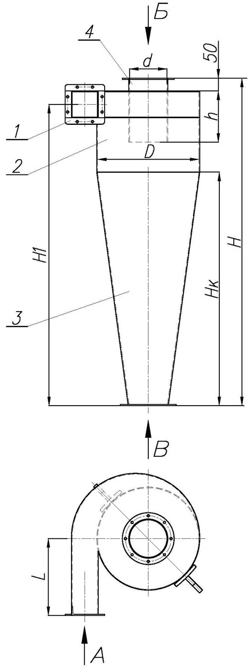 Габаритные размеры циклона УЦ-38-850