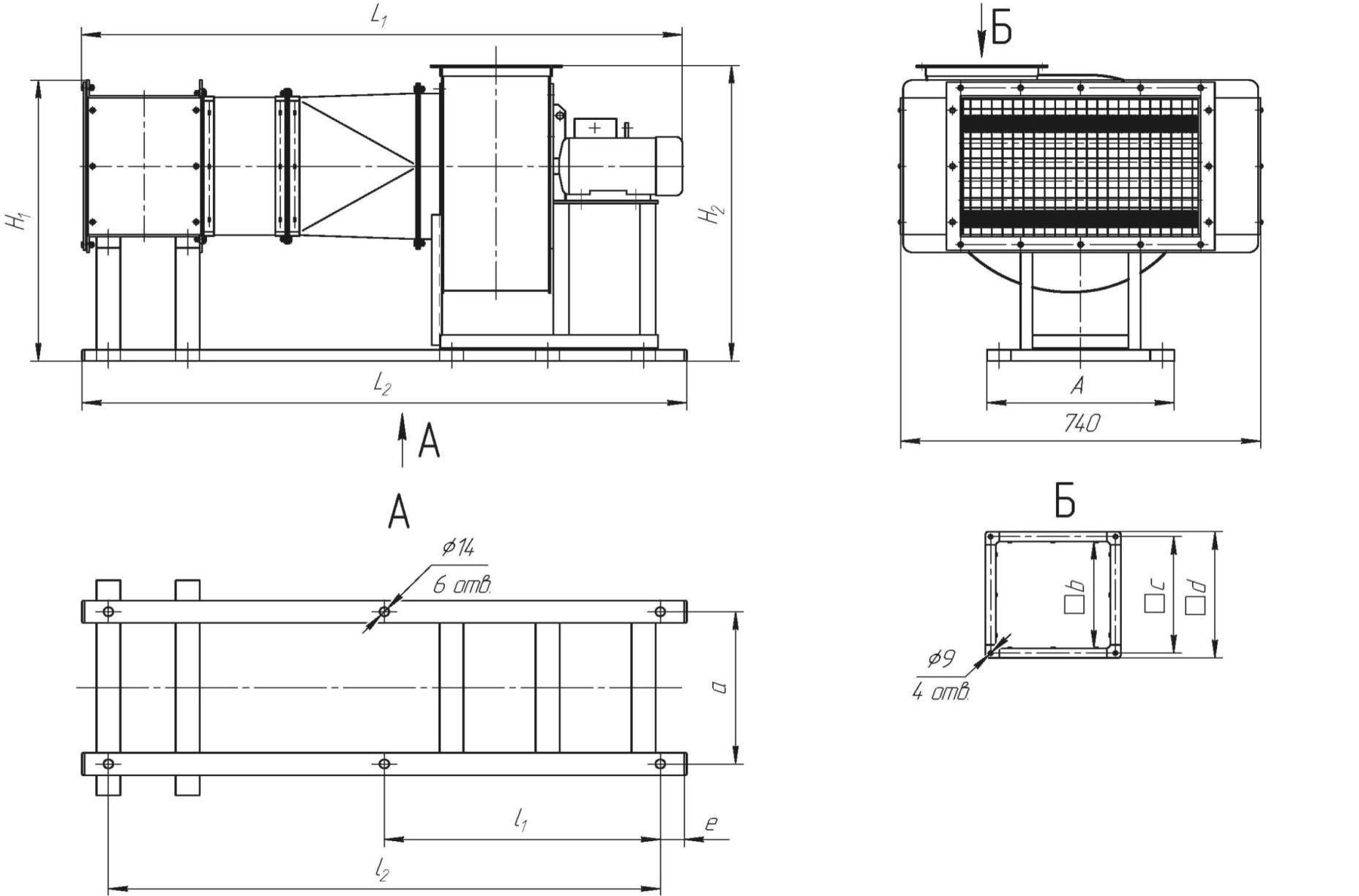 Габаритные размеры электрической воздухонагревательной установки УВНЭ-65-01