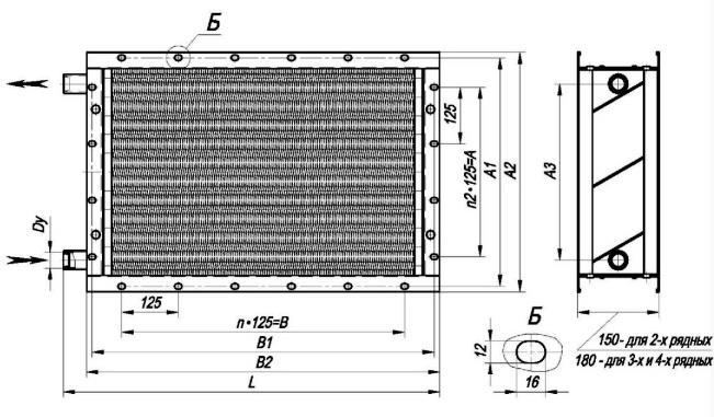 Калорифер КСК 3-8 габаритные и присоединительные размеры