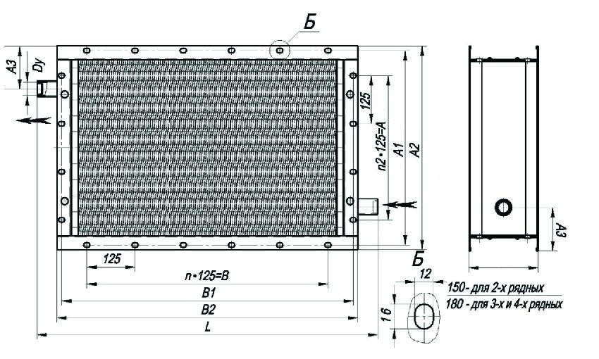Калорифер КПСК 2-1 габаритные размеры