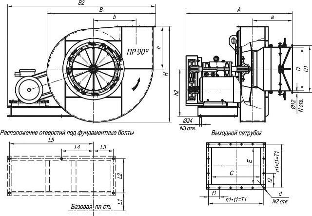 Дымосос ДН-12,5 технические характеристики, габаритные и присоединительные размеры исполнение 5