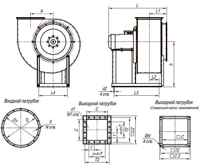 Вентилятор низкого давления ВЦ 4-70-2,5 габаритные и присоединительные размеры  исполнение 1