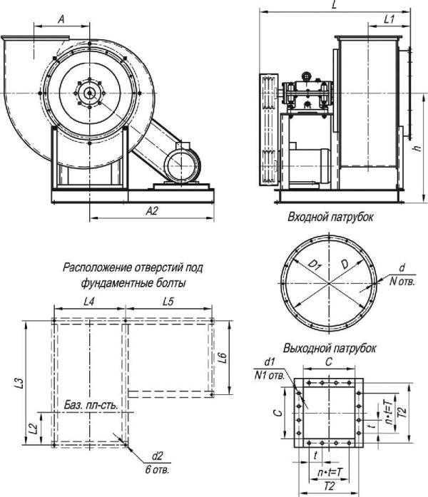 ВЦ 4-75-5 исполнение 5 габаритные и присоединительные размеры