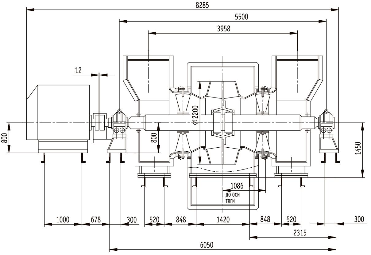 Дымосос ДН-22х2 габаритные и присоединительные размеры