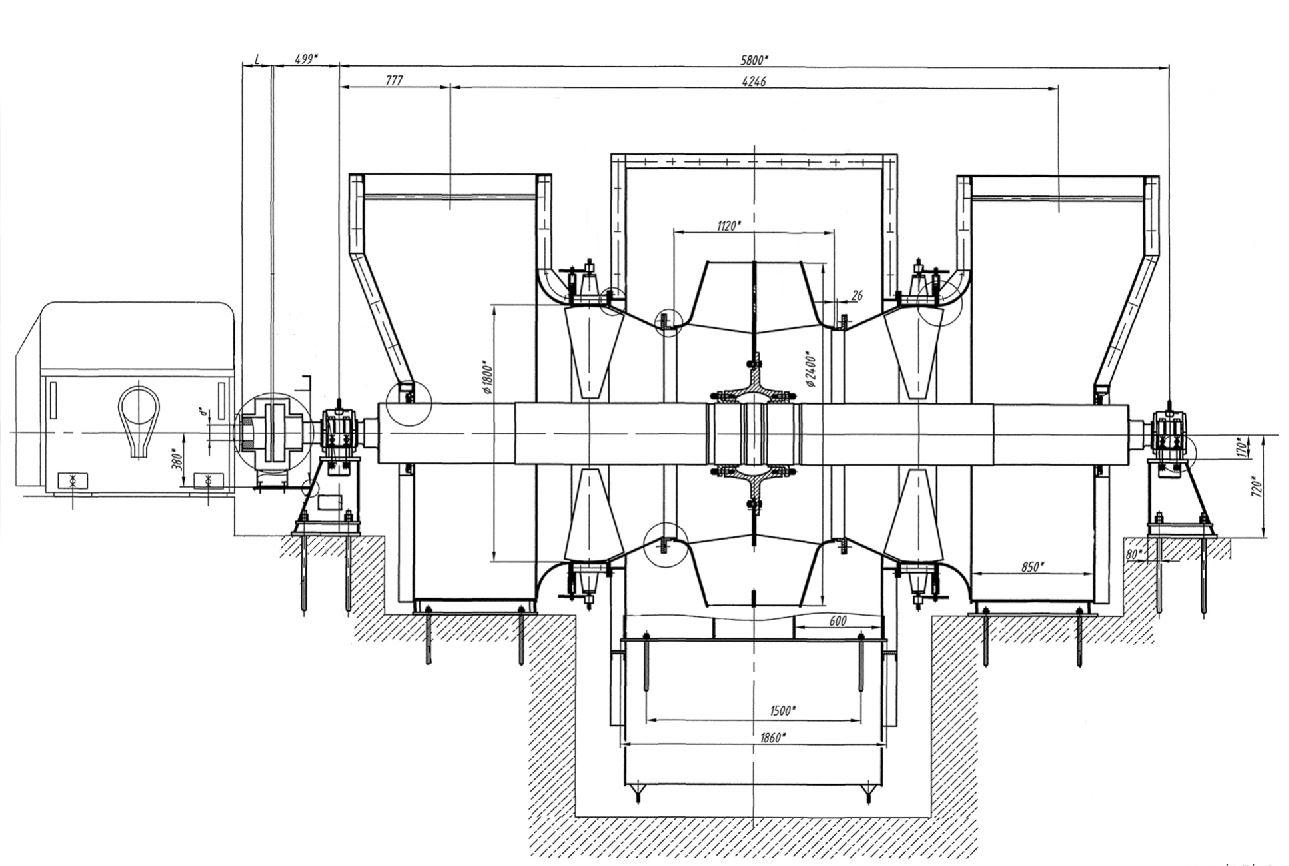 Дымосос ДН-24х2 габаритные и присоединительные размеры