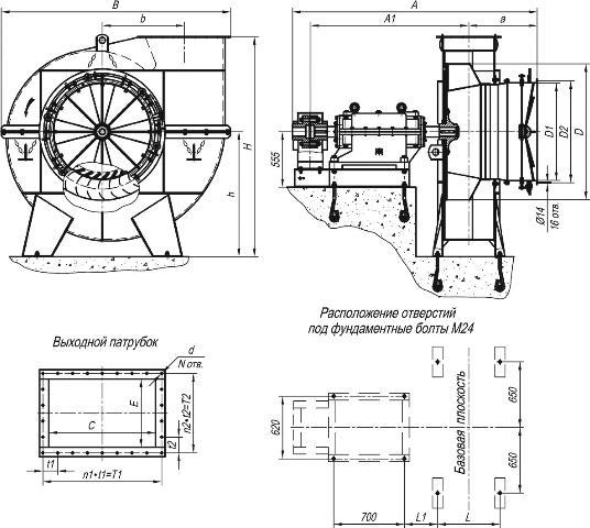 Дымосос Д-13,5, ВД-13,5 габаритные и присоединительные размеры