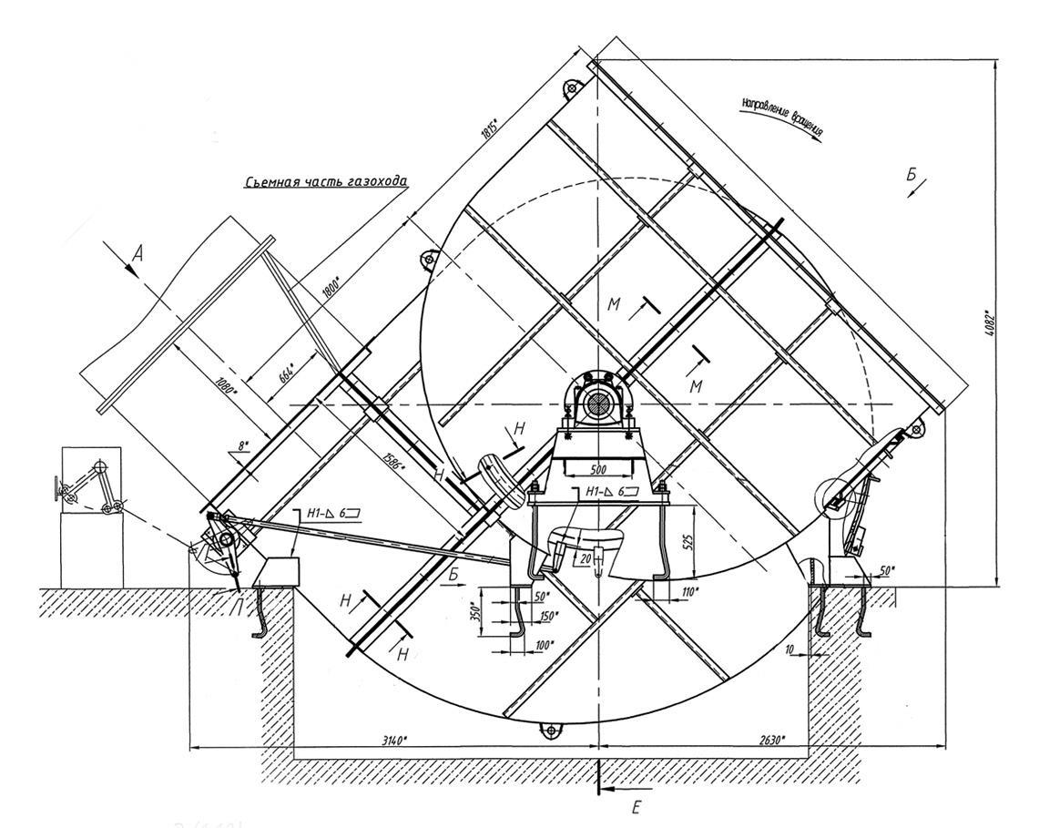 Присоединительные и установочные размеры дымососа ДН-24х2
