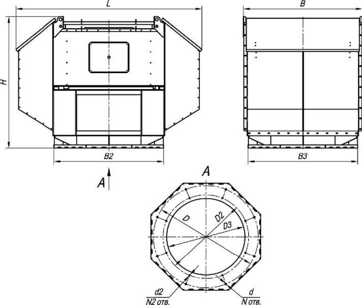 ВКРВ-3,55 габаритные и присоединительные размеры крышного вентилятора