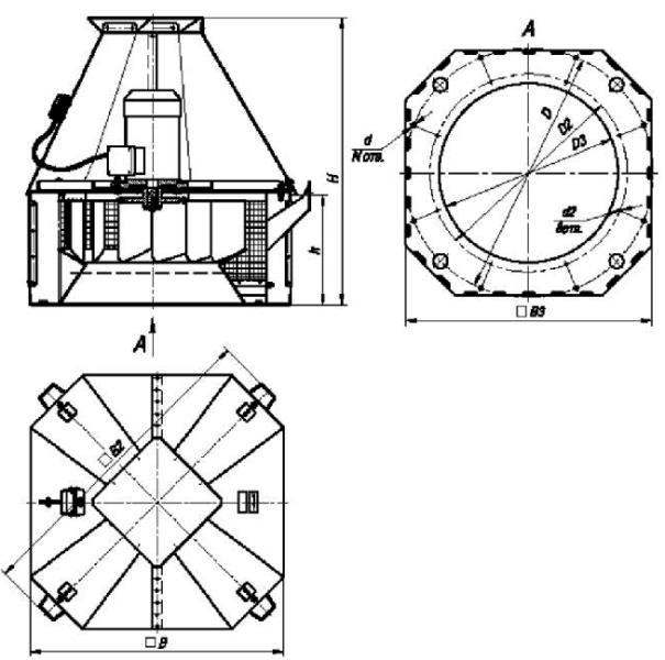 ВКРС-6,3 габаритные и присоединительные размеры крышного вентилятора