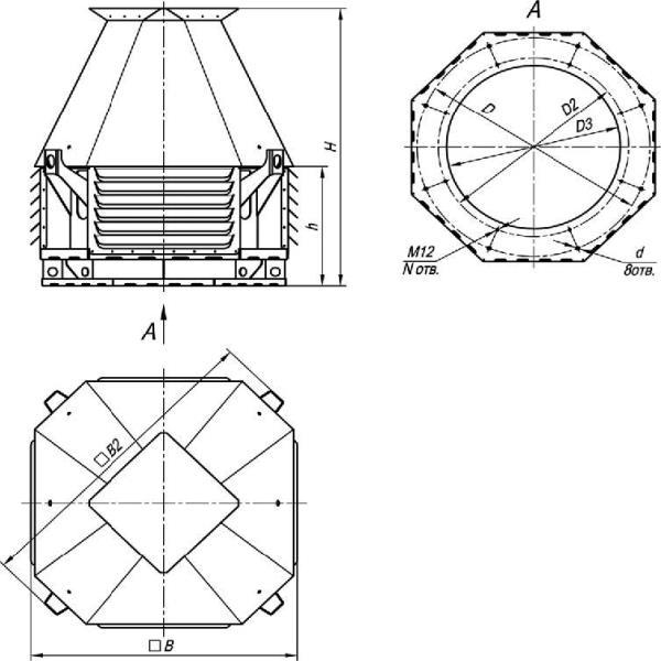 ВКРСм-12,5 габаритные и присоединительные размеры крышного вентилятора