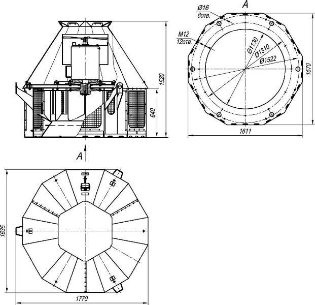 ВКР-12,5 ДУ габаритные и присоединительные размеры