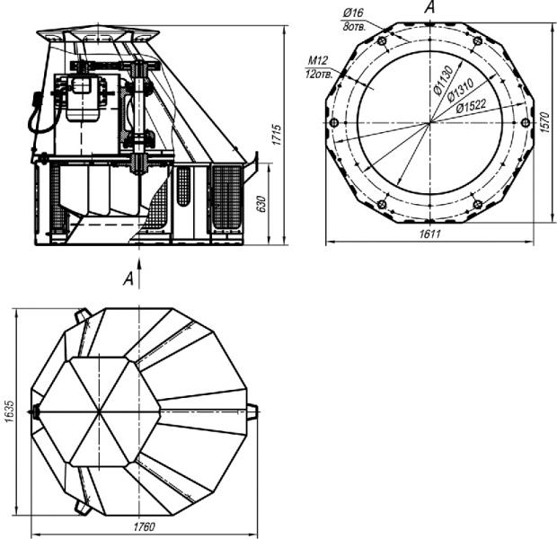 ВКР-12,5 габаритные размеры крышного вентилятора исполнение 5