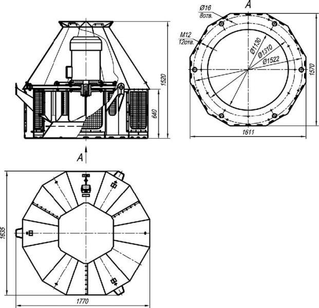 ВКР-12,5 габаритные размеры крышного вентилятора исполнение 1