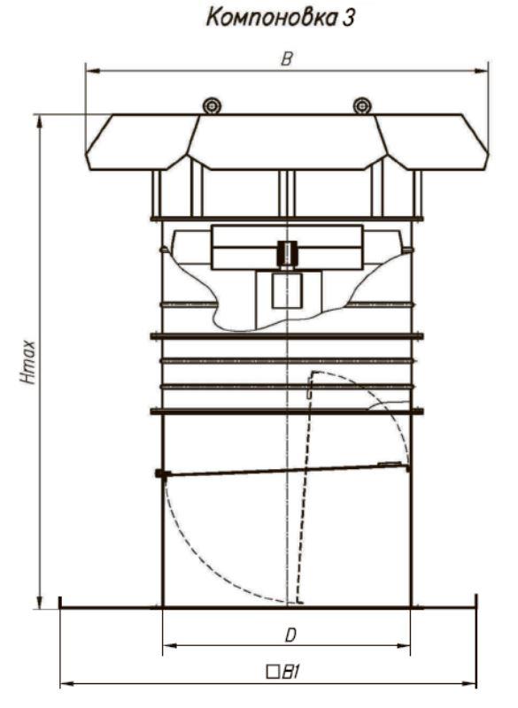 ВОКП 30-160-8 габаритные и присоединительные размеры вентилятора компоновка 3