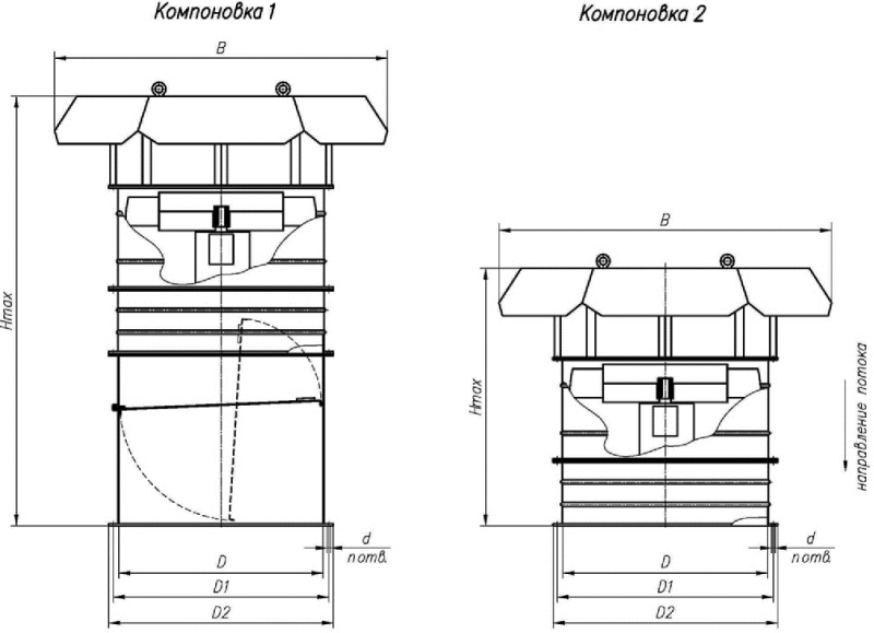 ВОКП 30-160-8 габаритные и присоединительные размеры вентилятора