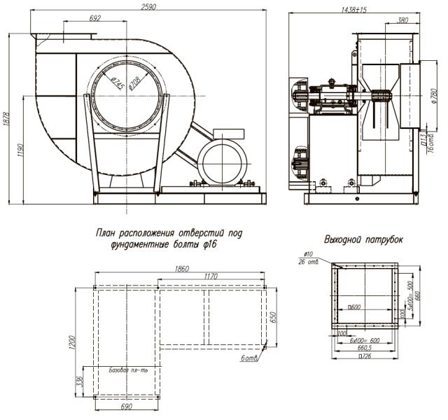 ВЦП 7-40-10 габаритные и присоединительные размеры исп.5
