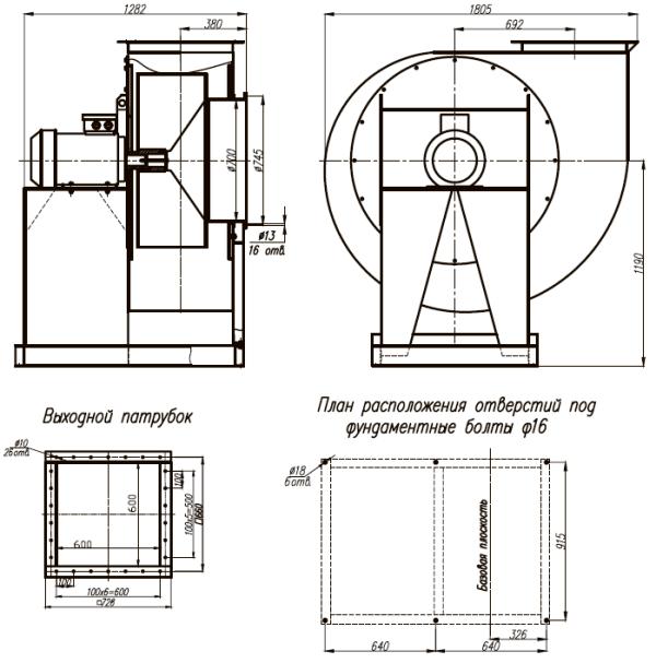 ВЦП 7-40-10 габаритные и присоединительные размеры исп. 1