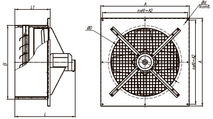 Вентилятор ВО-5,6 380 В размеры