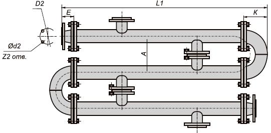 Водо-водяной подогреватель ВВП 17-377-2000 из разъемных секций
