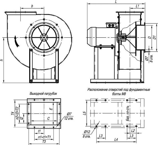 ВЦП 7-40-3,15 габаритные и присоединительные размеры