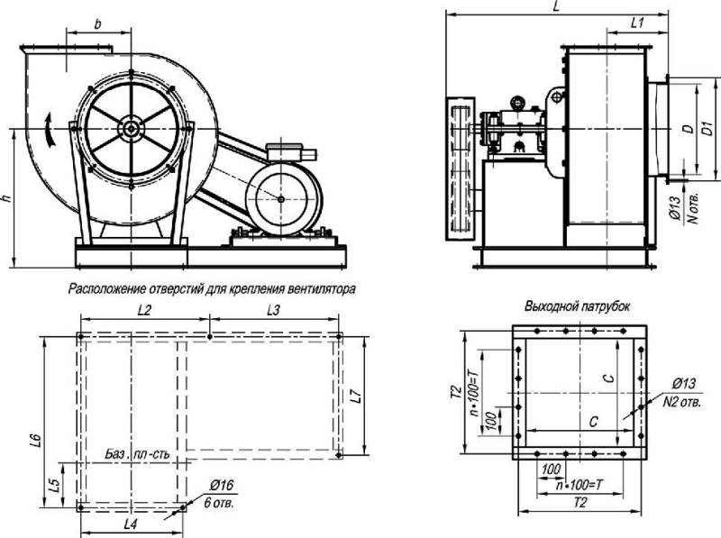 ВЦП 7-40-5 исп. 5 габаритные и присоединительные размеры