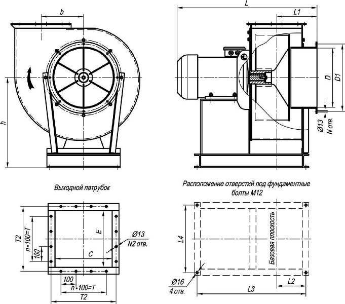 ВЦП 7-40-12,5 габаритные и присоединительные размеры исп.1