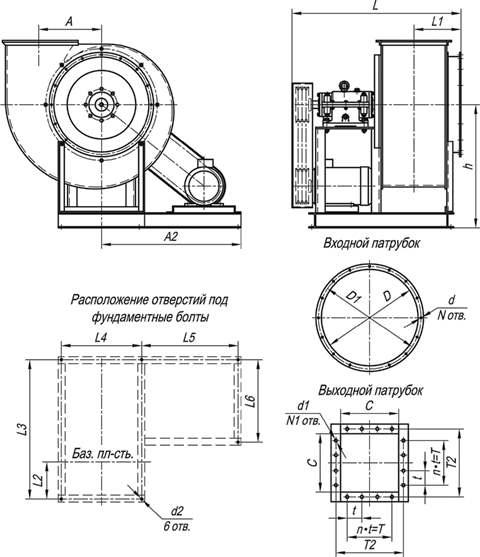 Габаритные и присоединительные размеры ВР 280-46-6,3 ДУисп-5