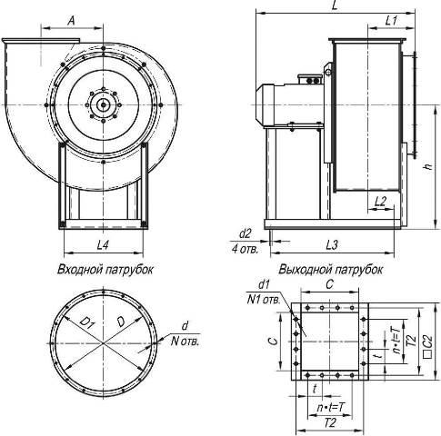 Габаритные и присоединительные размеры ВР 80-70-10 ДУ исполнение 1