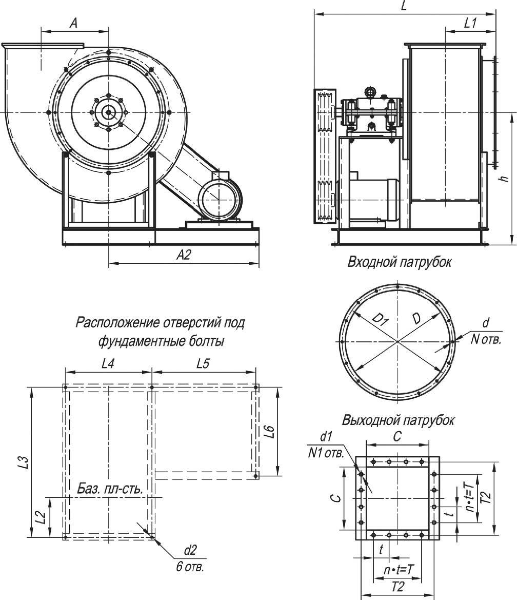 Габаритные и присоединительные размеры ВР 86-77-5 ДУ исполнение 5