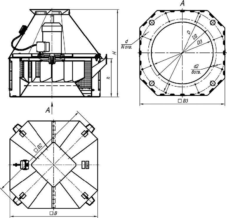 ВКР-4 ДУ габаритные и присоединительные размеры крышного вентилятора дымоудаления