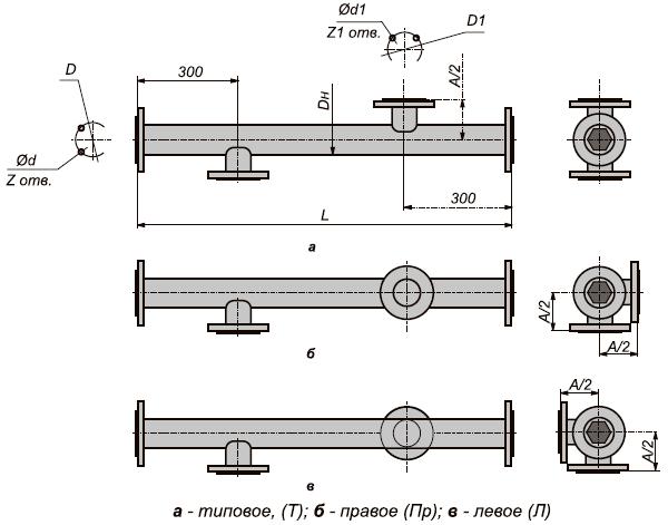 Кожухотрубный подогреватель водоводяной ВВП 12-219-4000 габаритные и присоединительные размеры