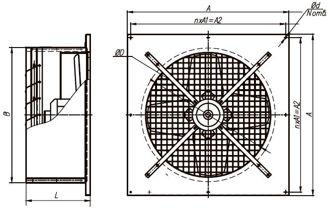 Оконный вентилятор ВО-2,5 220 В размеры