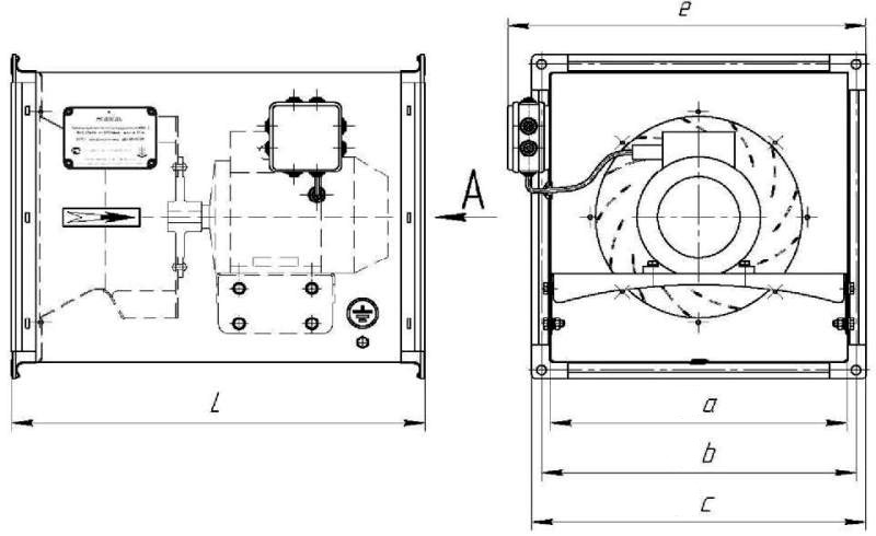 Вентилятор промышленный канальный КВК-5 размеры